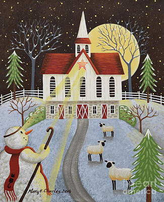 Folk Art Painting - Follow The Star by Mary Charles