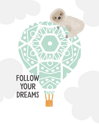 Hot Air Balloons Wall Art - Digital Art - Follow Your Dreams Sloth- Art By Linda Woods by Linda Woods