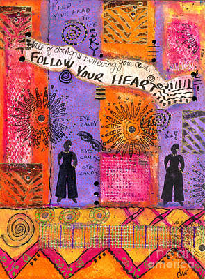 African-american Mixed Media - Follow Your Heart by Angela L Walker