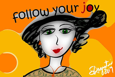 Thinking Of You Drawing - Follow Your Joy by Sharon Augustin