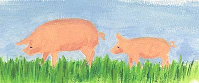 Piggies Painting - Following Mom by Heather Walker