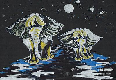 Mixed Media - Following Mother Elephant by Teresa White