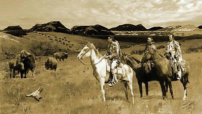 Bison Digital Art - Following The Buffalo by Matthew Schwartz