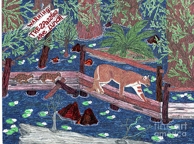Cypress Swamp Drawing - Following The Leader by KarleeSue Hasan