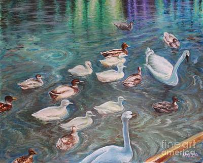 Wildfowl Painting - Following The Leader by Mimoza Gurabardhi