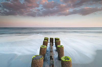 Folly Beach Charleston South Carolina Erosion Control Timber Groin Art Print by Mark VanDyke