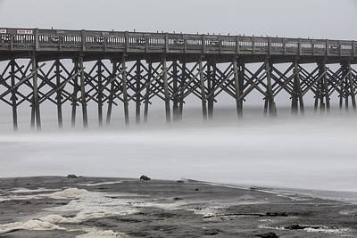 Folly Beach Pier And Fog Art Print by John McGraw