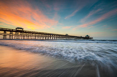 Beach Royalty-Free and Rights-Managed Images - Folly Beach Pier at Dawn - Charleston SC by Dave Allen