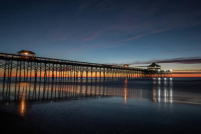 Photograph - Folly Beach Pier Before Sunrise by Donnie Whitaker