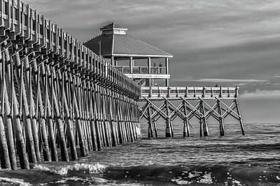Photograph - Folly Beach Pier Black And White by Donnie Whitaker
