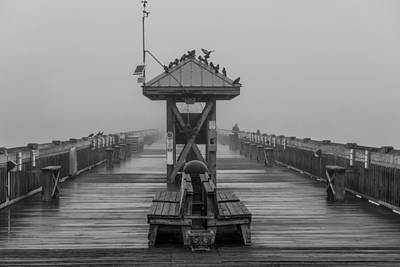 Folly Beach Pier Black And White  Art Print by John McGraw