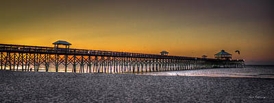 Best Ocean Photograph - Folly Beach Pier Sunrise 2 Charleston South Carolina Art by Reid Callaway