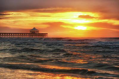 Photograph - Folly Beach Pier Sunrise by Donnie Whitaker