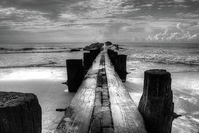 Folly Beach Pilings Charleston South Carolina In Black And White  Art Print