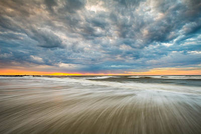 South Carolina Photograph - Folly Beach Sunrise Charleston Sc Seascape by Dave Allen