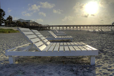Folly Beach Sunrise Lounger Art Print