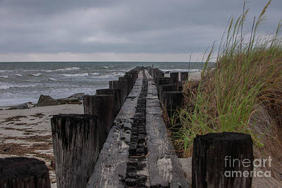 Photograph - Folly Erosion Piers by Dale Powell