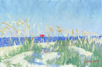 Painting - Folly Field Life Guard Stand by Candace Lovely
