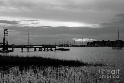 Photograph - Folly Harbor Sunset Grayscale by Jennifer White