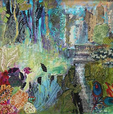 Newspaper Collage Painting - Folly by Sylvia Paul