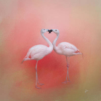 Fond Flamingos Art Print