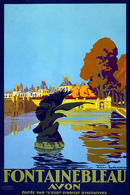 Painting - Fontainbleau Avon - Vintage Travel Poster by Studio Grafiikka