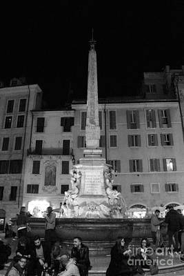 Photograph - Fontana Del Pantheon In Black And White by Angela Rath