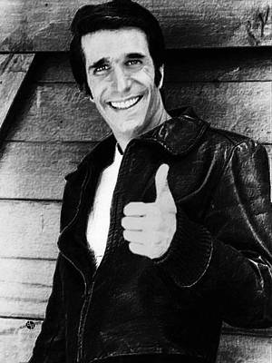 Fonzie Happy Days Black And White Painting Original by Tony Rubino