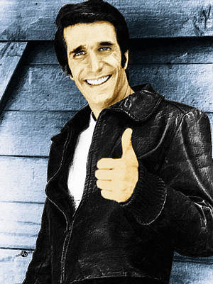 Fonzie Happy Days Painting Original by Tony Rubino