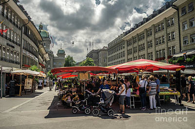 Photograph - food and flowers market in Berne by Michelle Meenawong