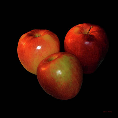 Photograph - Food Art Apples On Black by Lesa Fine