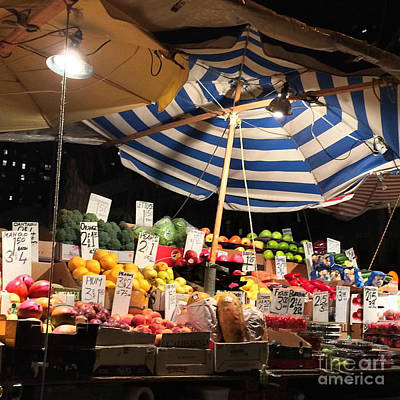Photograph - Food City - Night Market With Umbrella Fruits And Vegetables by Miriam Danar