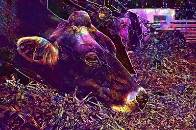 Digital Art - Food Eat Grass Cow Animal  by PixBreak Art