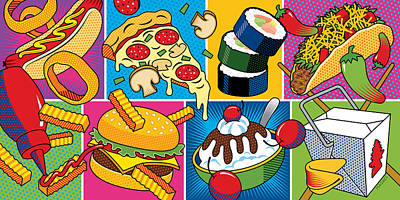 Hot Dogs Digital Art - Food Essentials by Ron Magnes