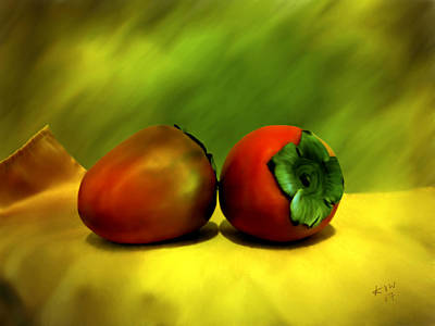 Persimmon Photograph - Food For The Gods by Kurt Van Wagner