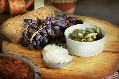 Photograph - Food - Fruit - Gherkins And Grapes by Mike Savad