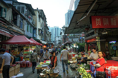 Photograph - Food Market Shopping Area Street In Central Xiamen City China by Jacek Malipan
