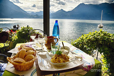 Food On A Table With A View Art Print