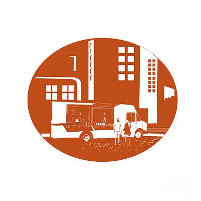 Eatery Digital Art - Food Truck City Buildings Oval Woodcut by Aloysius Patrimonio
