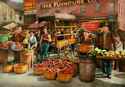 Photograph - Food - Vegetables - Indianapolis Market 1908 by Mike Savad