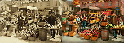 Photograph - Food - Vegetables - Indianapolis Market 1908 - Side By Side by Mike Savad