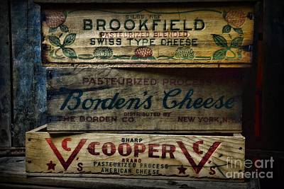 Vintage Wine Lovers Photograph - Food - Vintage Wooden Cheese Boxes by Paul Ward