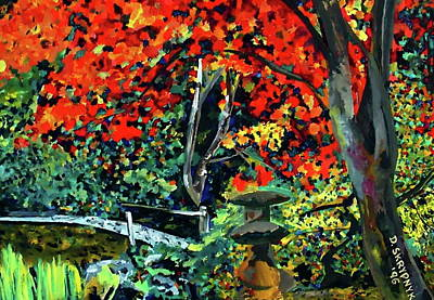 Painting - Foot Bridge At Butchart's Japanese Gardens by David Skrypnyk