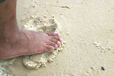 Photograph - Foot  On  Beach -  No. 1 by William Meemken