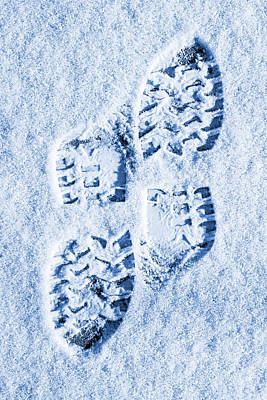 Foot Prints In Snow Blue Tone Art Print by Donald  Erickson