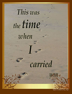 Photograph - Foot Prints In The Sand - When He Carried Me by Bob Sample