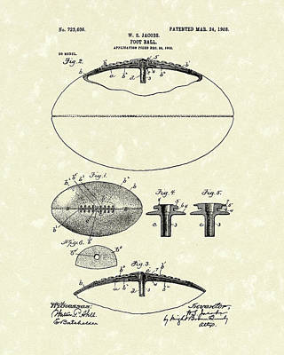 Sporting Goods Drawing - Football 1903 Jacobs Patent Art by Prior Art Design