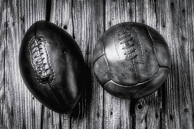 Photograph - Football And Soccer Ball by Garry Gay
