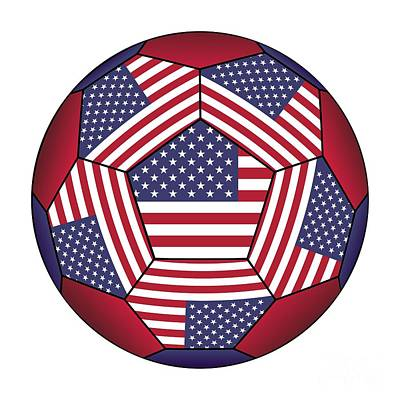 Digital Art - Football Ball With United States Flag by Michal Boubin
