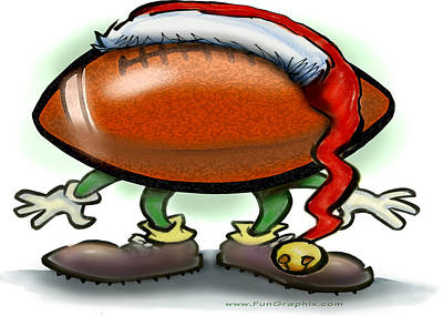 Football Christmas Print by Kevin Middleton